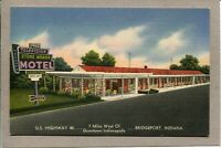 Postcard IN Bridgeport Stone Motel U.S. Highway 40 Vintage Hotel Linen -265