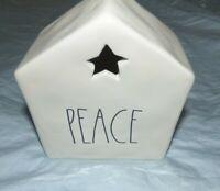 Rae Dunn Artisan Collection Luminary Tea House PEACE WHITE/IVORY W/ BLACK LL NEW