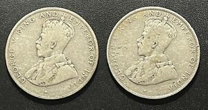British Honduras 1911 and 1919 50 Cents Silver Coins: Lot of 2