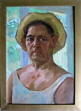 ANTIQUE RUSSIAN SOVIET IMPRESSIONISM PAINTING KRECHETOV GAY ARTIST SELF-PORTRAIT