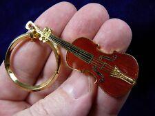 (M-14-B) STRADIVARIUS violin KEY CHAIN 24k gold plate JEWELRY I love music