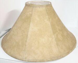 "LARGE 22"" LAMP SHADE OCTAGONAL BELL FAUX LEATHER SLANT GOLD TAN SOFTBACK RAWHIDE"