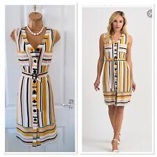 JOSEPH RIBKOFF Colourful Striped Belted Short Dress Uk Size 12