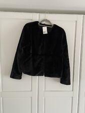 H&M Women's Soft Black Faux Fur Jacket SIZE MEDIUM BRAND NEW