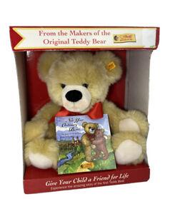 New Steiff Teddy Bear Set Sealed Book 'Not Your Ordinary Bear!' Button In Ear