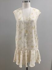 Anthropologie FRNCH Dropwaist Floral Ruffle Dress NWT Yellow Ivory Small $89