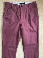 """ALL SAINTS MEN'S CRANBERRY RED """"CHARGE"""" CHINOS TROUSERS PANTS - 28"""" - NEW & TAGS"""