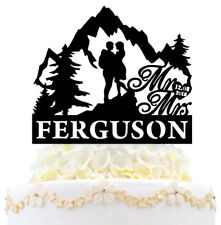 Personalize Hiking Travel Mr And Mrs Wedding Cake Topper with Date And Last Name