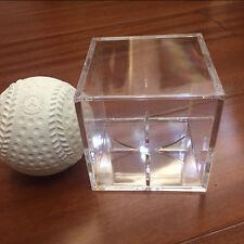 1X 8CM Acrylic Baseball Display Case Tennis Cube Box Holder UV Protection