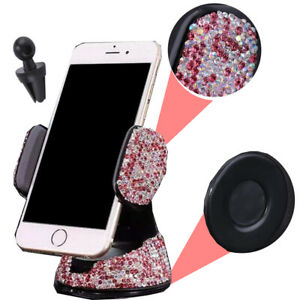 Pink Rhinestone Phone Holder Clip W/Suction Cup Fit Window Air Vent Euro Vehicle
