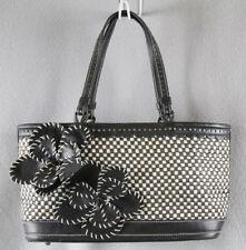 Isabella Fiore Small Classic Black & White Woven Summer Designer Handbag EC  ANB