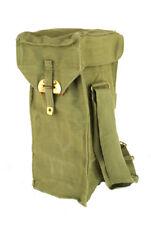 2x Shoulder Bag Haversack Strap Canvas Part Leather Brass 5L VGC VTG Khaki Pair