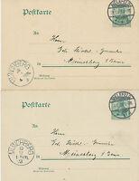 """DT.REICH """"MÜNCHBERG"""" K1 als Ankunftstempel a. zwei 5 Pf GA's STEMPELFEHLER 1903"""