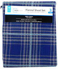 NIP~Mainstays Flannel Twin 3pc Cotton Sheet Set Dark Blue-Lt blue-Gray Plaid