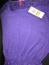NEW EPIC THREADS SIZE MED/8 PURPLE SHORT SLEEVE SHOULDER LACE ELASTIC WAIST TOP