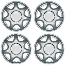 "Linus 13"" Car Wheel Trims Hub Caps Plastic Covers Set of 4 Silver Universal"