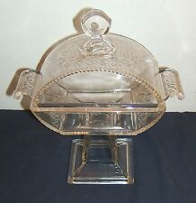 EAPG Clear Footed Candy Dish Early American Pattern Glass Pressed embossed antq