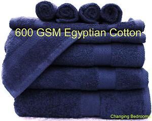 NAVY BLUE LUXOR 600GSM 100% EGYPTIAN COTTON FACE HAND BATH TOWELS BATH SHEETS