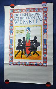 ANTIQUE ORIGINAL TRAVEL POSTER BRITISH MUSIC EXHIBITION WEMBLEY LONDON 1925