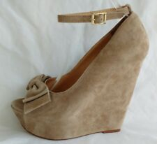Office Womens Ladies Beige Suede Wedge Heel Peep Toe Court Shoes Size 5/38 New