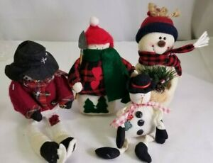 "Lot of 4 Plush Snowman 8"" to 12"" Christmas Decor Sitting Figures Adorable"