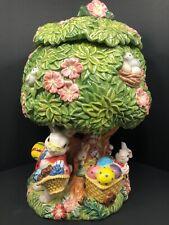 Vintage Fitz & Floyd Ceramic Easter Cookie Jar ~ Bunnies, Easter Eggs, Floral