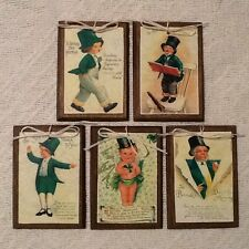 5 WOODEN St. Patrick's Day ORNAMENTS/Irish HANG TAGS Handcrafted Set42