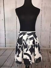 Trouve Mini Skirt Flared Skater Black White Pockets Lined Medium M