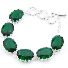 Special Jewelry Gift Oval Shaped Emerald Topaz Gemstone Silver Charming Bracelet