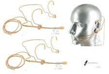 Set 2 Tan Beige Extendable Boom Headset Mic for AKG Wireless WMS_Detachable Cord
