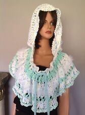 Hand Knit Cotton Hoodie Circular Shawl Mini Poncho Designer Fashion Cowl Hip Chi