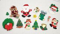 Lot of 14! Vintage Fridge Refrigerator Magnets Holiday Christmas Santa Trees