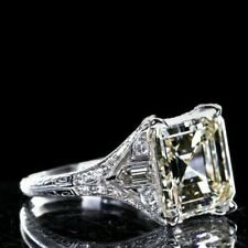 Engagement Ring In 925 Sterling Silver 3.60Ct Asscher Cut White Diamond Art Deco