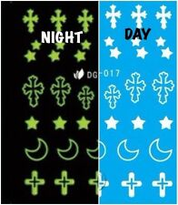 Nail Art Water Decals Glow in the Dark Night Time Cross Moon Stars DG017