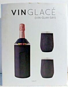 VinGlace Portable Wine Champagne Insulator Chiller Cooler Navy Blue 10z Glasses