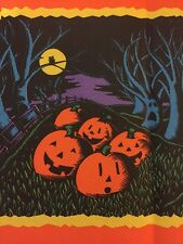 (2) Vintage Halloween Spooky Owls,tree Faces,Pumpkins Crepe Paper Tablecloth New