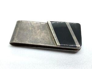 Vintage Mexico Sterling Silver Black Onyx Inlay Mens Money Clip (22.1g)