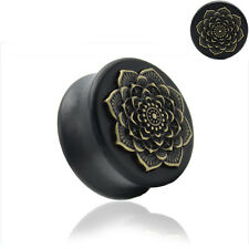 BLACK WOODEN FLOWER EAR PLUGS Stretchers Jewellery Saddle Tunnel TIMBER PL82