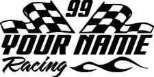 Name & number racing checkered flag & flame custom vinyl window sticker