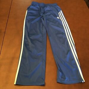 ADIDAS BLUE W/WHITE STRIPES ATHLETIC PANTS BOYS MEDIUM 10-12 EXCELLENT CONDITION