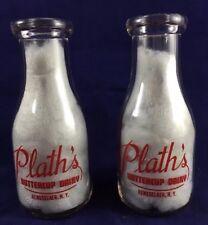 2 Milk Bottles Set of Vintage Plath's Buttercup Dairy in Rensselaer NY 1946?