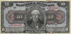 México  10  Pesos  ND. 1915  Series  I  Prefix D  Circulated Banknote JWK