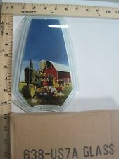 FREE US SHIP OK Touch Lamp Replacement Glass Panel Green Tractor & Boy 638-US7A