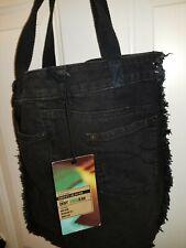 DKNY Jeans Soho Black Denim Jean Tote Handbag Beach Bag Book Bag Diaper Bag NWT