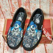 Vans Schoph Classic Slip On Black Skull Owl Mens 7.5 Womens 9.0 Skate Shoes New