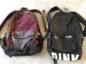 2 Large PINK (victoria Secret) Backpacks Burgundy/black & Black