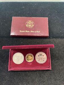 1983-1984 Olympic Commemorative 3 Coin Uncirculated Gold & Silver Set! No COA