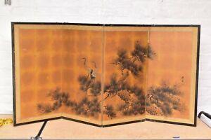 VTG Japanese Chinese 4 Panel Folding Screen Byobu Painted 61x31 antique Signed