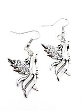 Earrings Mythical Phoenix Front Facing Rebirth Silver Tone 35mm X 25mm