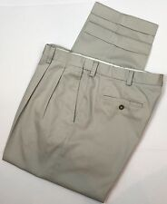 IZOD Mens Pants Double Front Pleated Casual Dress Cuffed Tan Beige Size 38x30